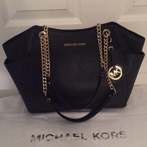 Michael Kors Black Safiano Leather Zippered Tote